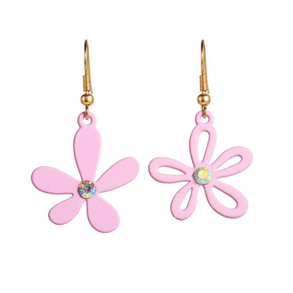 1 Pair Women Earrings Asymmetry Floral Daisy Fresh Alloy Eardrop Jewelry Pink