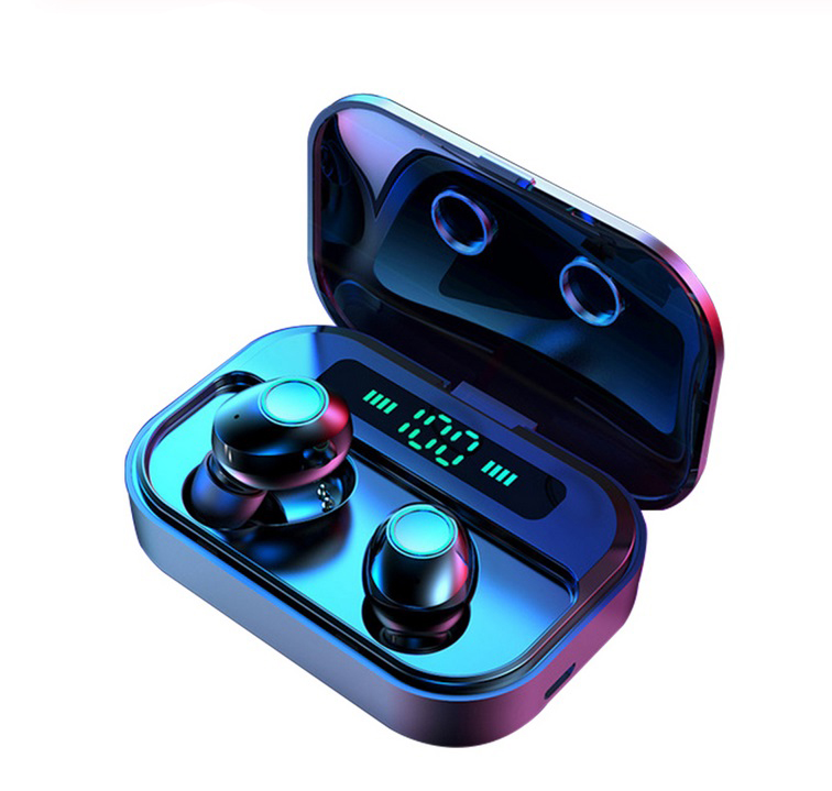 M7 TWS 5.0 Bluetooth Earphones Power LED Display Wireless Earphone IPX7 Waterproof Sport Earbuds 6D Stereo Game Headset  black