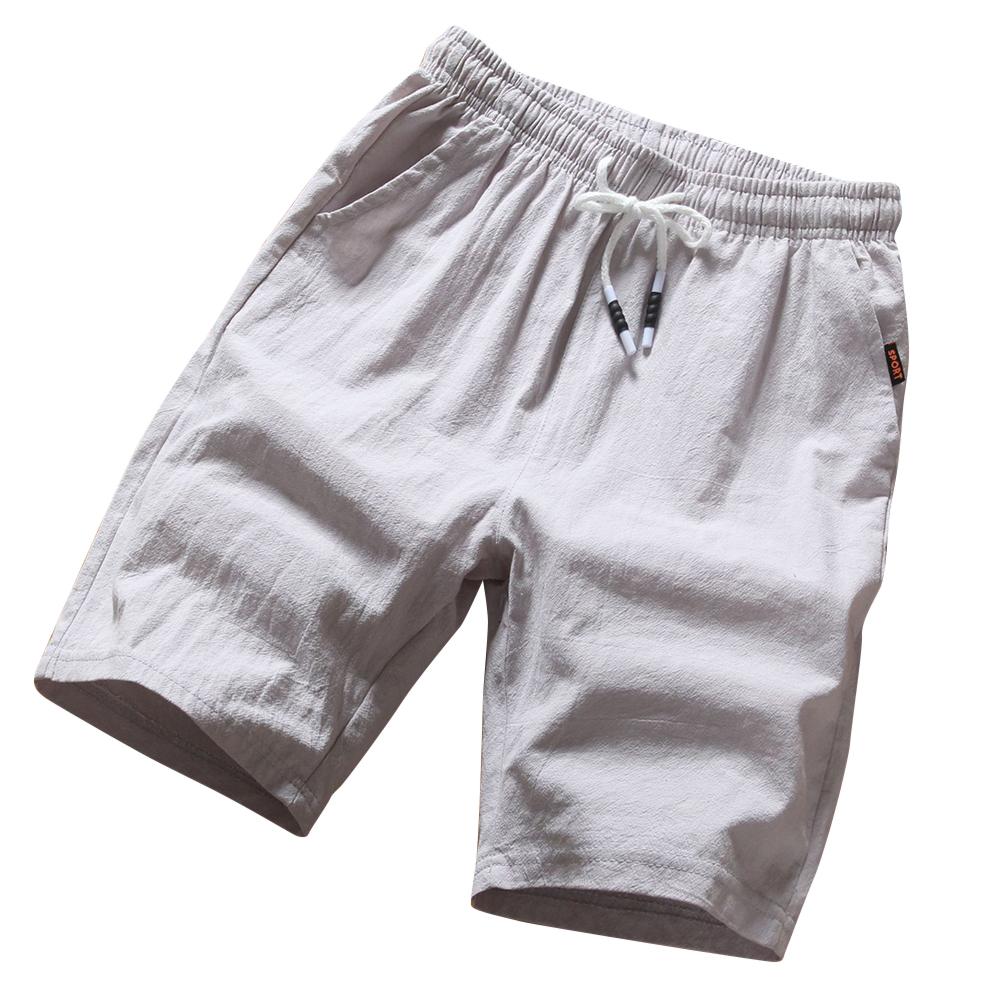 Men Soft Cotton Loose Casual Shorts Middle Length Pants gray_L