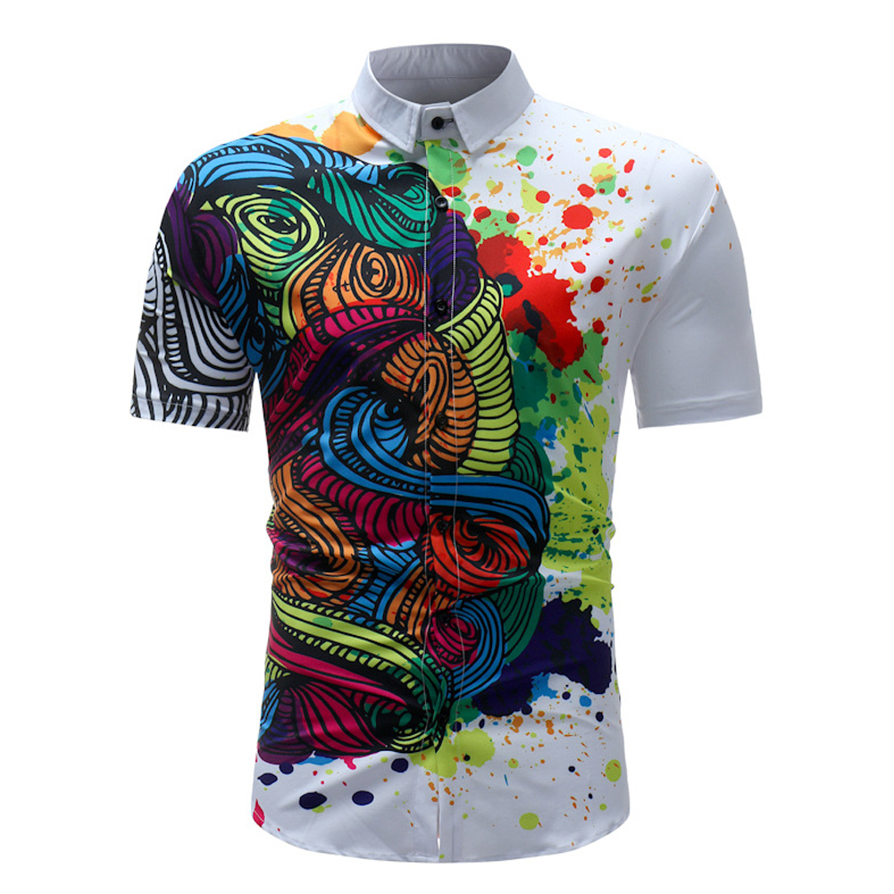 Male Leisure Short Sleeves and Turn-down Collar Shirt Beach Top with Floral Printed  As shown_XXL