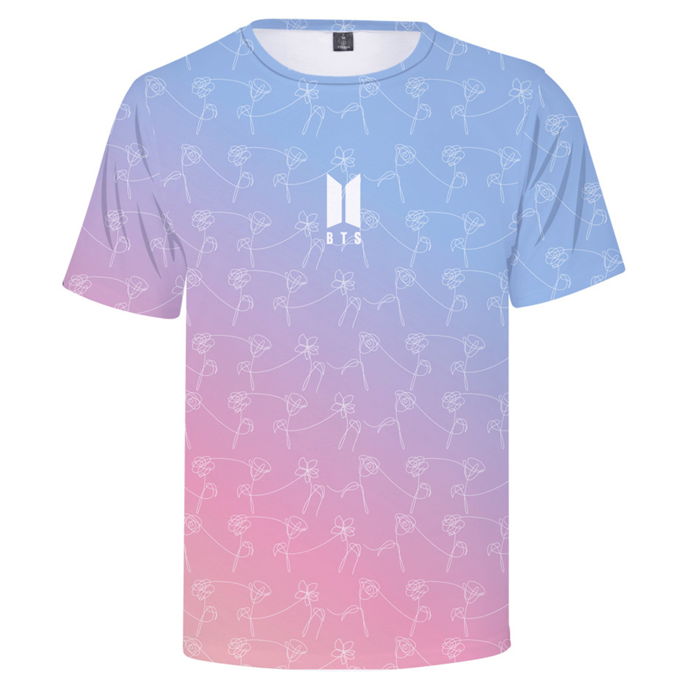 BTS 3D Digital Printed Shirt Loose Casual Leisure Short Sleeves Top for Man 3Da_XXXL
