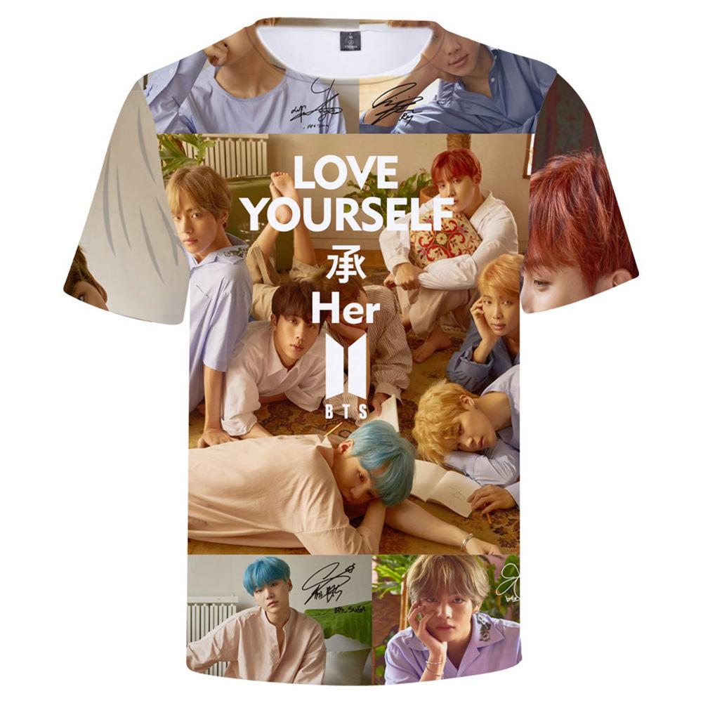 BTS 3D Digital Printed Shirt Loose Casual Leisure Short Sleeves Top for Man 3Db_M