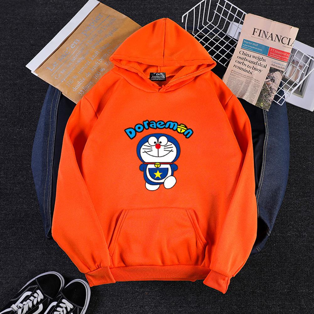 Men Women Hoodie Sweatshirt Cartoon Doraemon Thicken Loose Autumn Winter Pullover Tops Orange_M