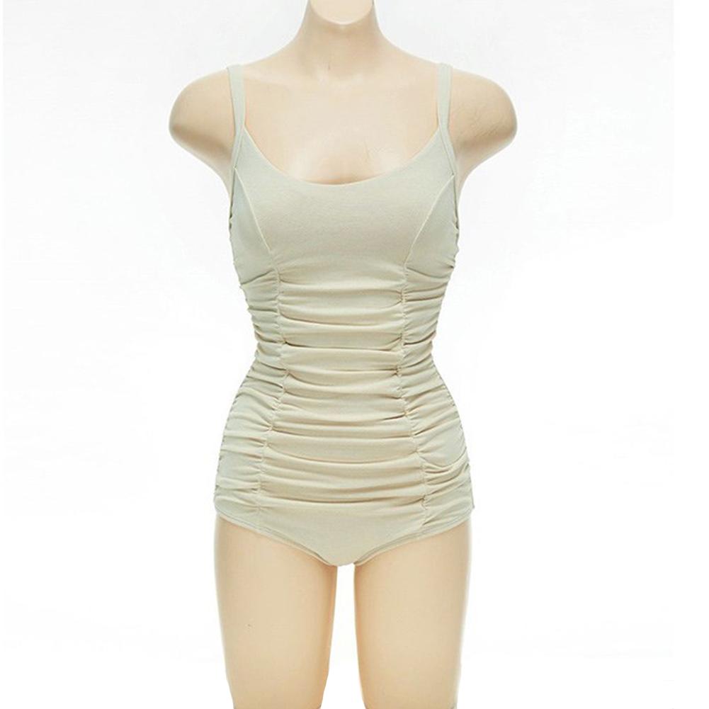 Women Swimsuit Nylon Pleated Multi-layer Backless One-piece Swimsuit Beige_l