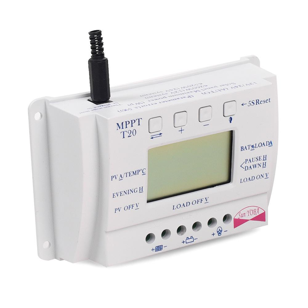 LCD 10/ 20/30 / 40A 12V / 24V MPPT Solar Panel Regulator Charge Controller 3 Timer T20-20A