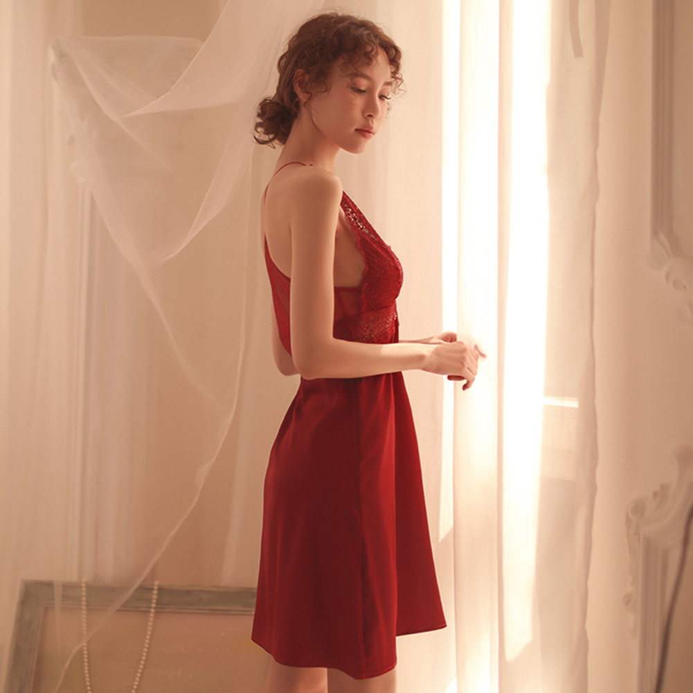 Lady Deep V-neck Backless Lace Sling Nightdress + Briefs Sexy Temptation Lingerie Underwear red_One size