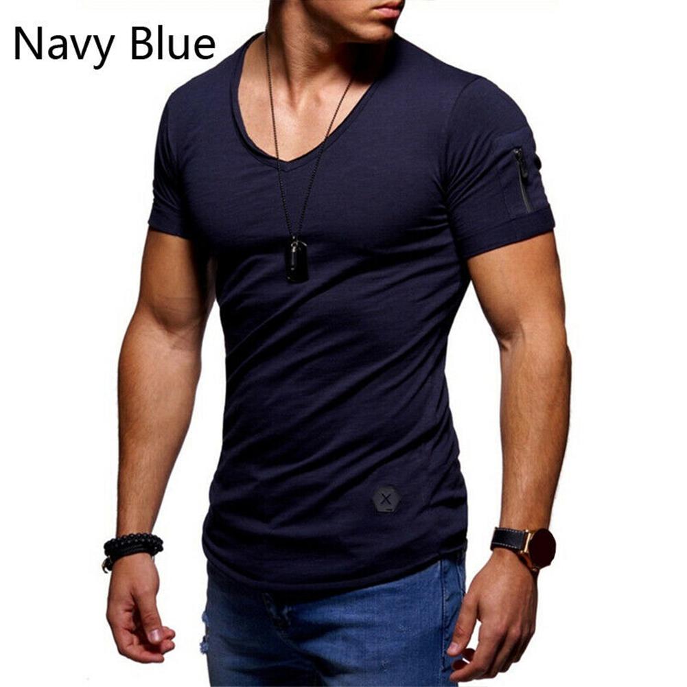 Men Fashion Solid Color Short Sleeves Breathable V-neck T-shirt Dark blue_L
