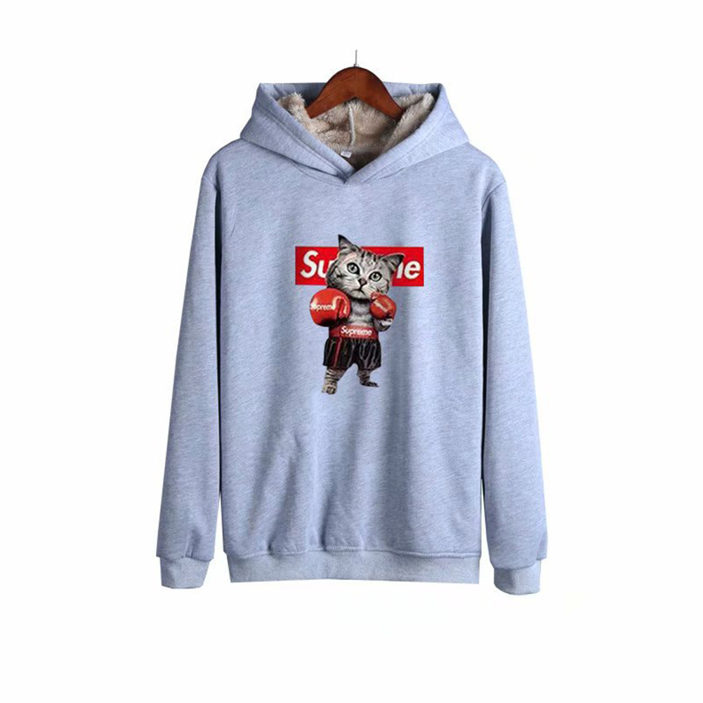 Men Autumn Winter Pullover Hooded Sweater Loose Long Sleeve Fleece Line Tops Hoodie 2#_XXXL