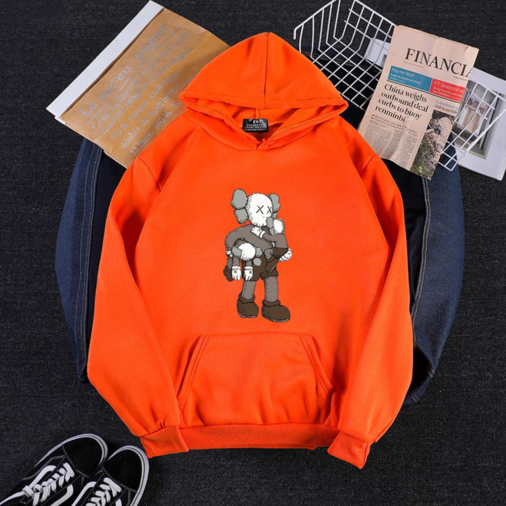 KAWS Men Women Hoodie Sweatshirt Climbing Doll Cartoon Thicken Autumn Winter Loose Pullover Orange_L