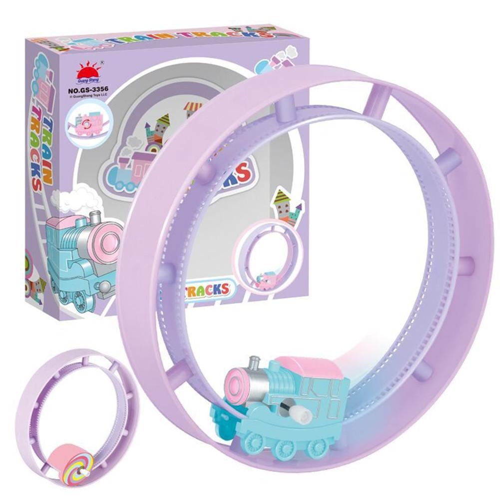 Kids Cute Cartoon Double Ring Track Rolling Clockwork Toy