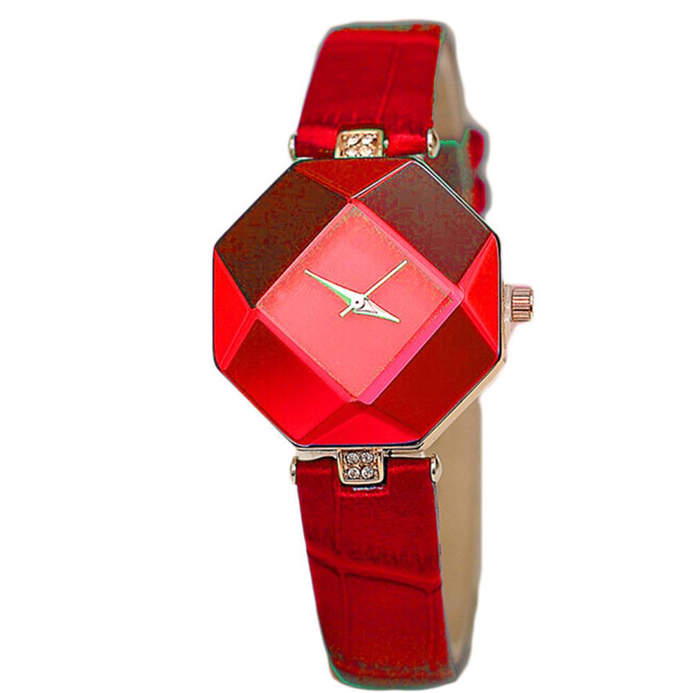 Women Simple Fashion High-precision Rhombus Quartz Watch red