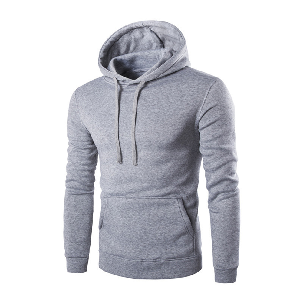 Unisex Fashion Hoodies Pure Color Long Sleeved Hoodies light grey_L