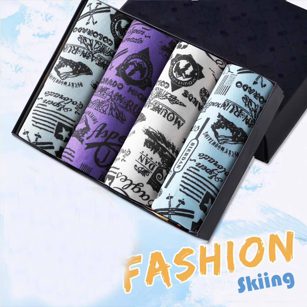 4pcs/set Man Underwear Box-packed Fashion Breathable Colorful Boxers skating_XXL