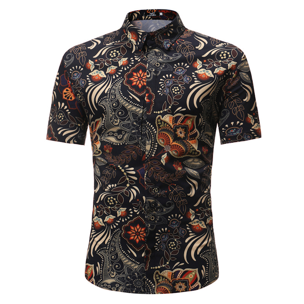 Men Summer Printing Shirts Standing Collar Short Sleeve Casual Shirts  black_2XL