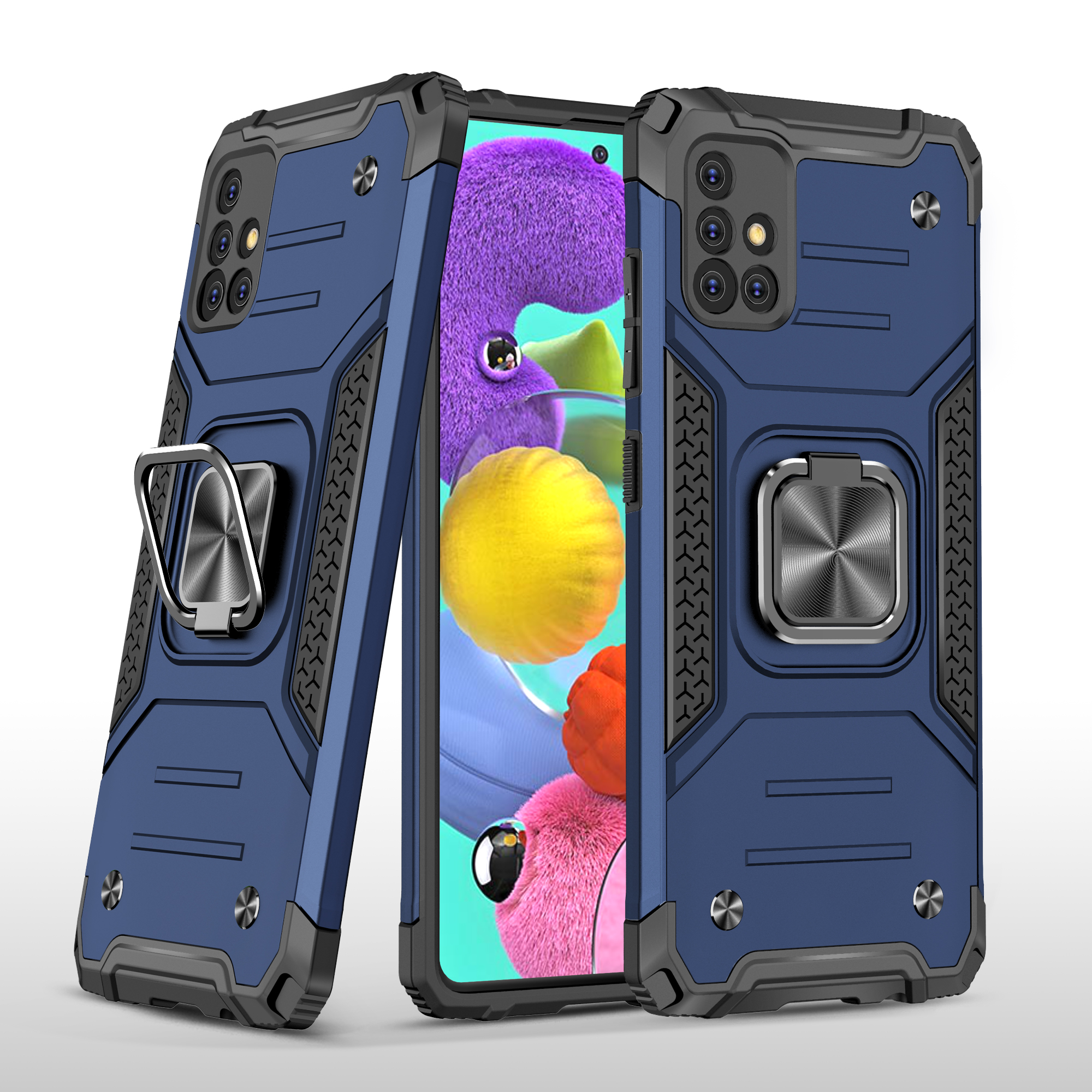 Mobile Case with Bracket TPU PC for Samsung A51 5G Anti-drop All-inclusive PVC Bag blue