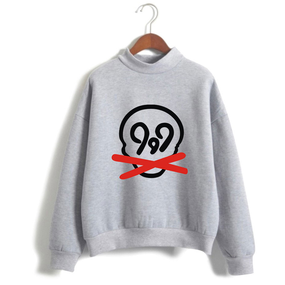 Men Women Printed Fashion Casual Turtleneck Sweater Long Sleeve Tops 3#_M