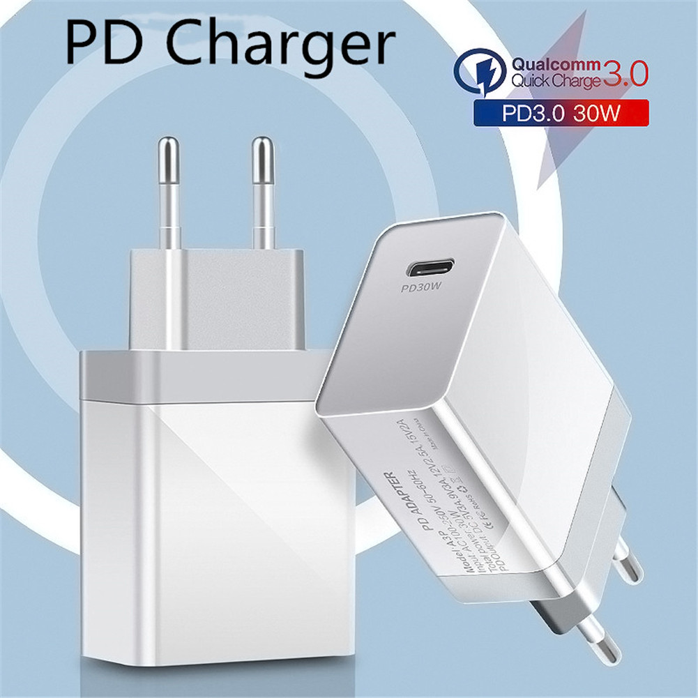USB Type-C Travel Charger PD Fast Charge Compatible for iPhone/iPad/MacBook Mobile Phone and Tablet EU Plug
