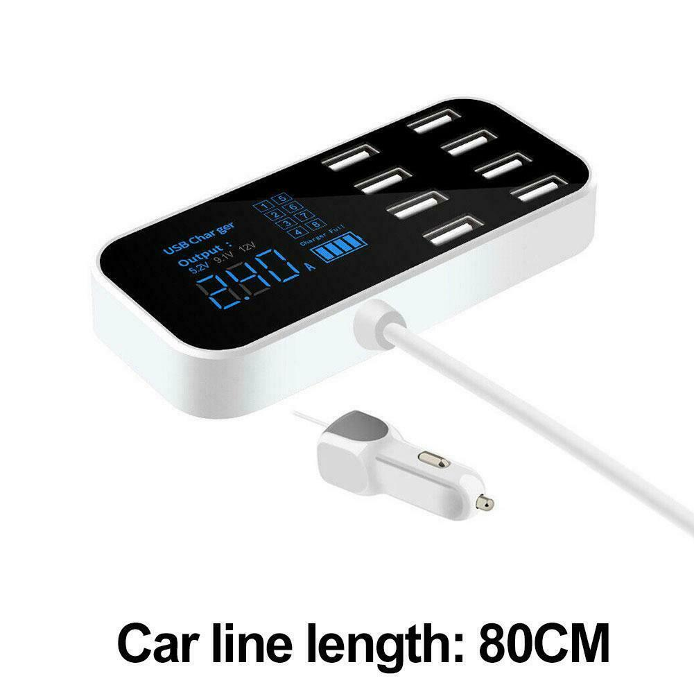 A9S 8-Port USB Car Charger Quick Charging LED Display Voltage Current Widely Compatible Black