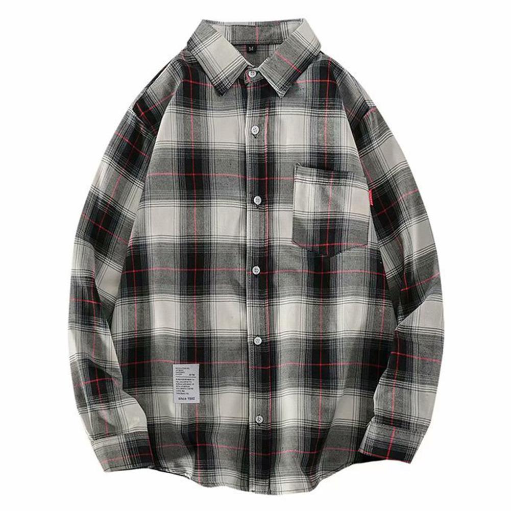 Men's Shirt Casual Long-sleeved Lapel Plaid Pattern Slim Shirt White _XL