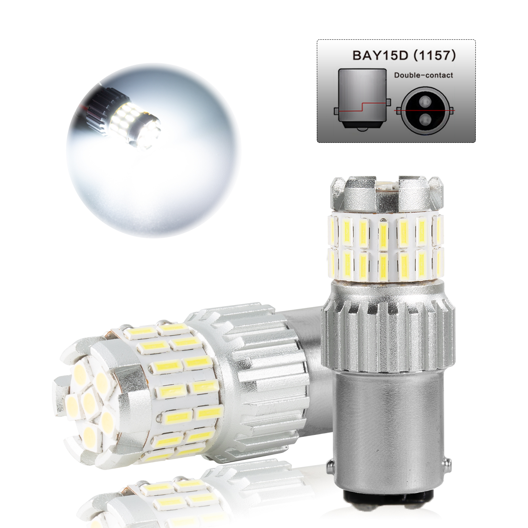2pcs Fast Heat Disspation Aluminum LED Bulb for Drviaion 1156/1157Canbus Light White light_1157 bay15d p21-5w