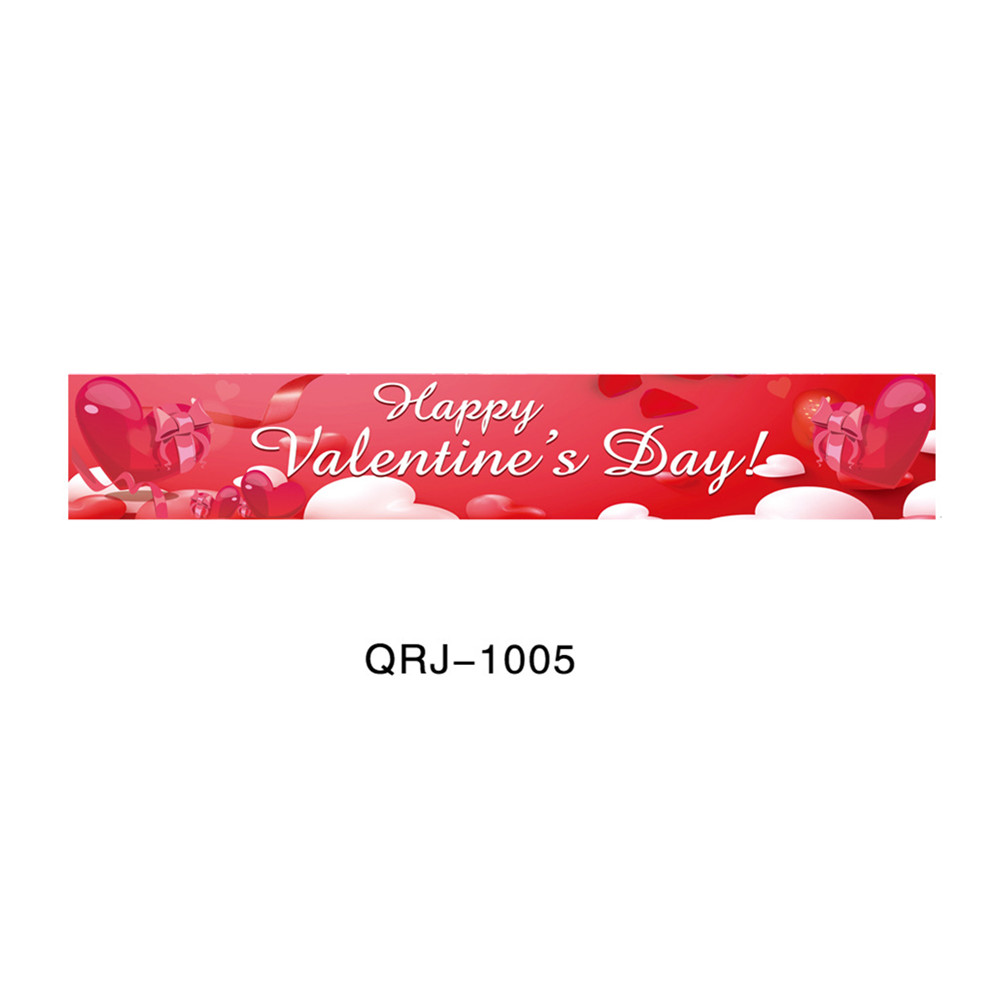 Banners Happy Valentine Day Decorations Flag Hanging Huge Sign For Store Garden Porch 50*300cm   qrj - 1005