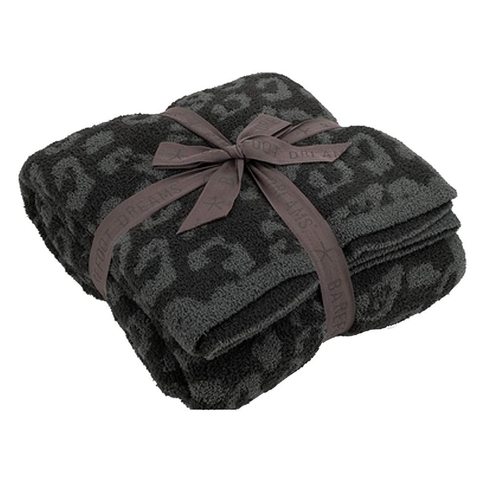 Leopard Print Throw  Blanket For Women Girls Teens Children Fleece Blanket For Bed Crib Couch Black Grey Leopard