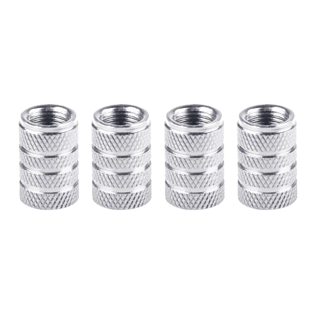 4pcs/set Car Tire Colorful Aluminum Alloy Valve Cap Wheel Valve Cover Dust Cap Silver
