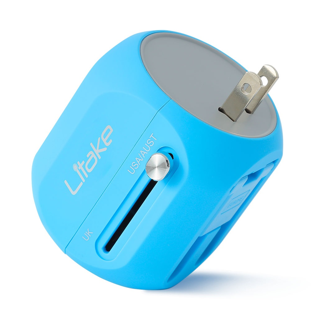 Mini Travel Power Adapter, All In One Wall Plug Travel Adapter with QC 3.0 USB Charger Support Quick Charging for UK, EU, AU, US Covers 150+Countries