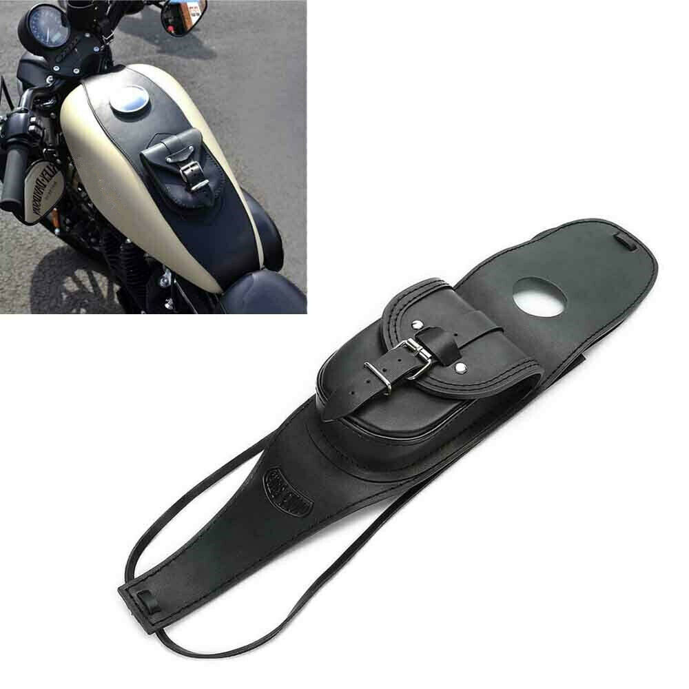 Motorcycle PU Leather Fuel Tank Panel with Pouch for  Sportsterfor  Sportster black
