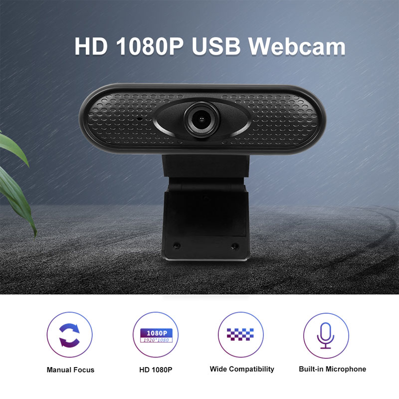 Webcam HD 1080p Camera USB  Web Cam MIC Clip-on for Computer Laptop Web Camera 360 Degree Usb Camera Black 1080P
