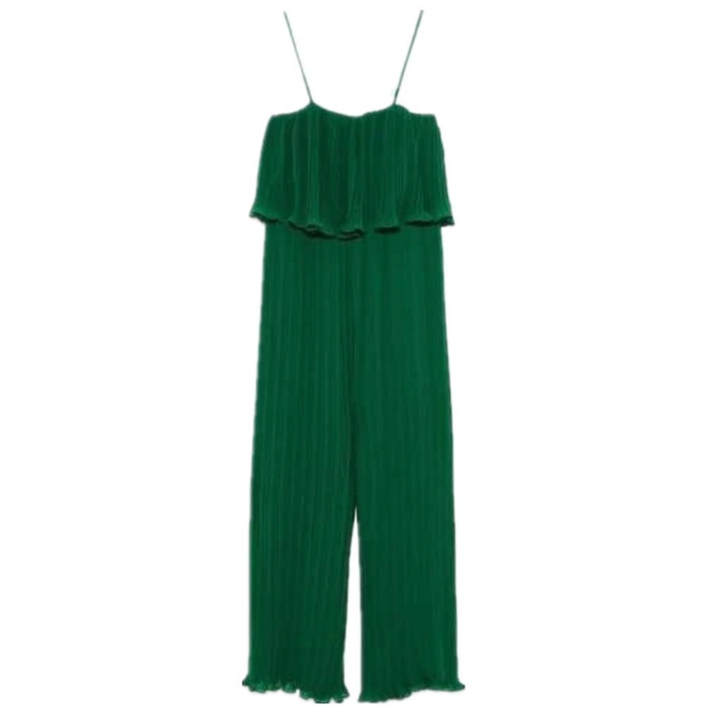 Women Sling Jumpsuit Wide Straight Leg Solid Color Chiffon Jumpsuit green_M
