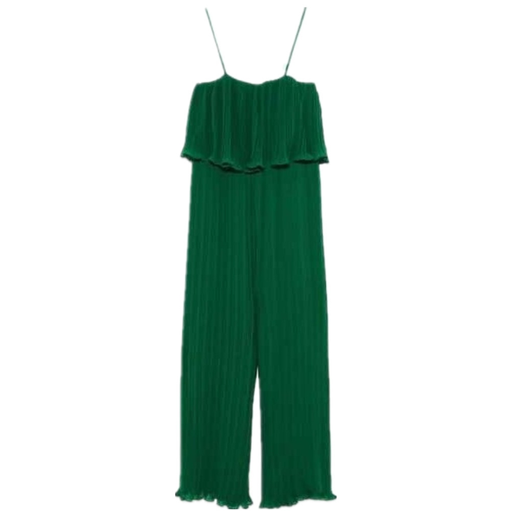 Women Sling Jumpsuit Wide Straight Leg Solid Color Chiffon Jumpsuit green_S