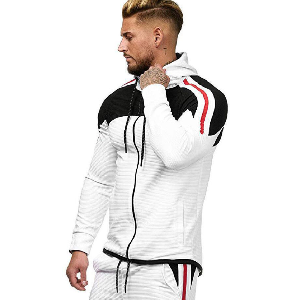 Men Autumn Winter Zipper Striped Patchwork Long Sleeve Hoodies for Sports Casual  white_M
