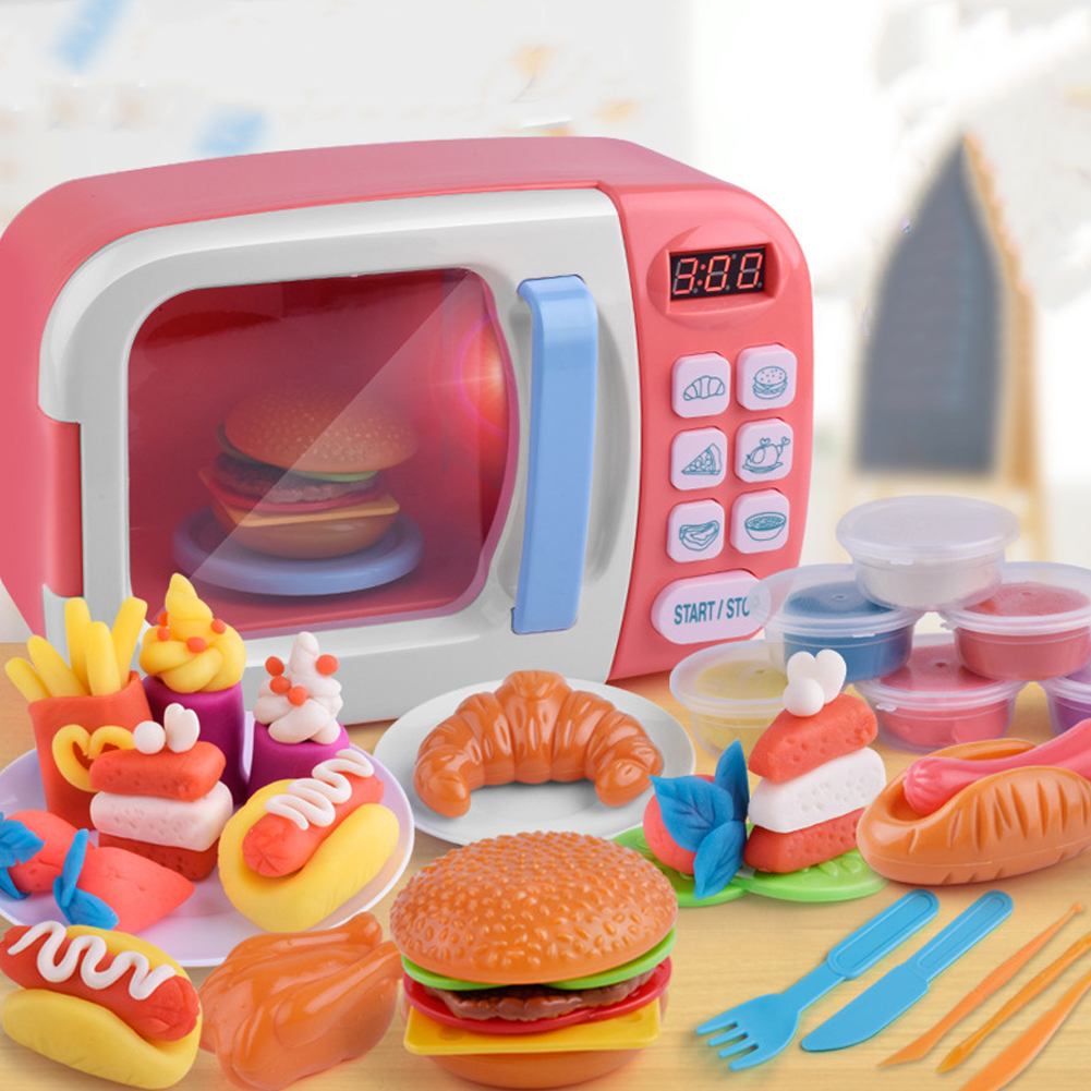 Kids Mini Kitchen Play House Toy Imitation Electric Appliance Toy for Boys Girls Microwave Oven Pink
