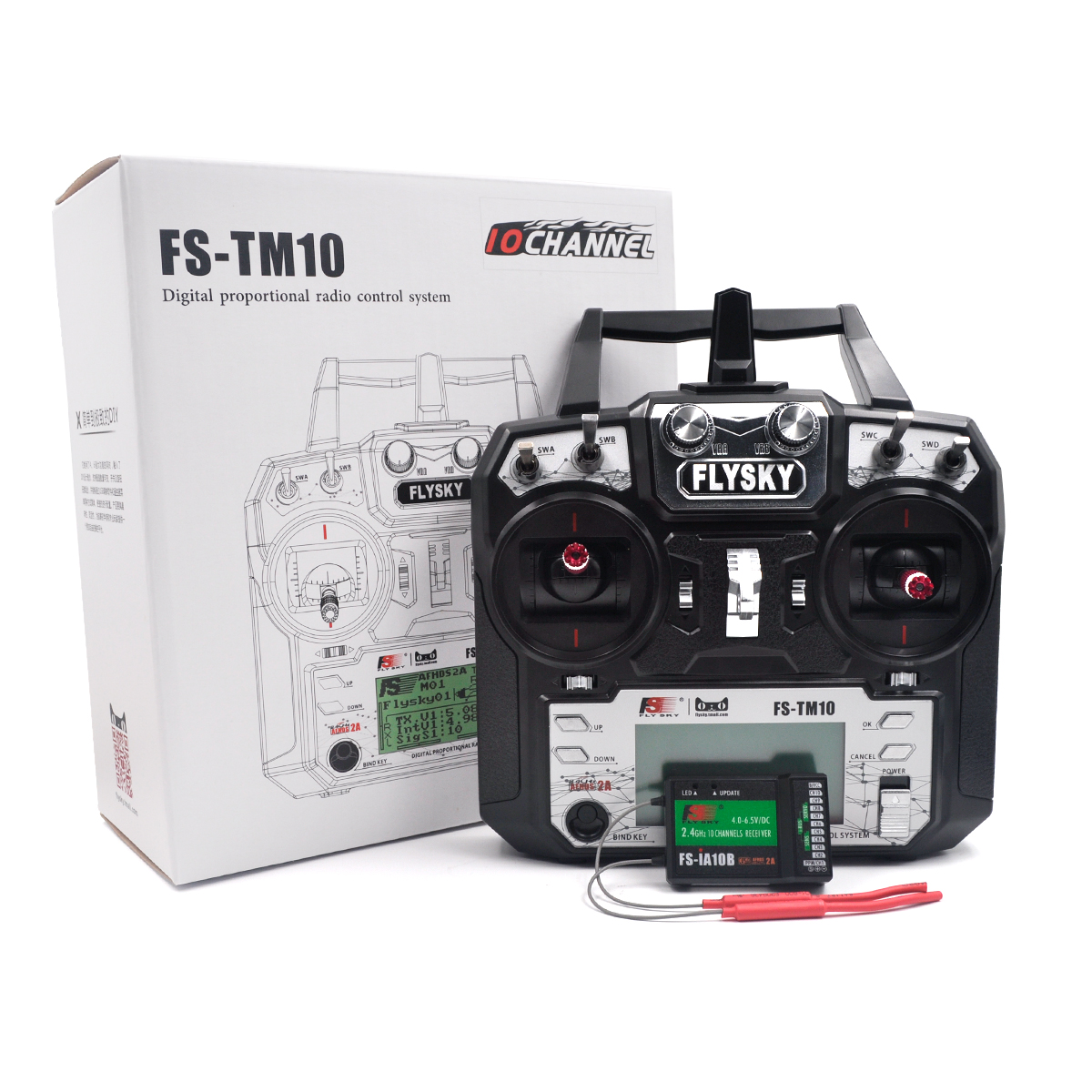 Flysky FS-TM10 2.4G 10CH AFHDS RC Transmitter Black with FS IA10B /IA6B Receiver TM10+IA10B