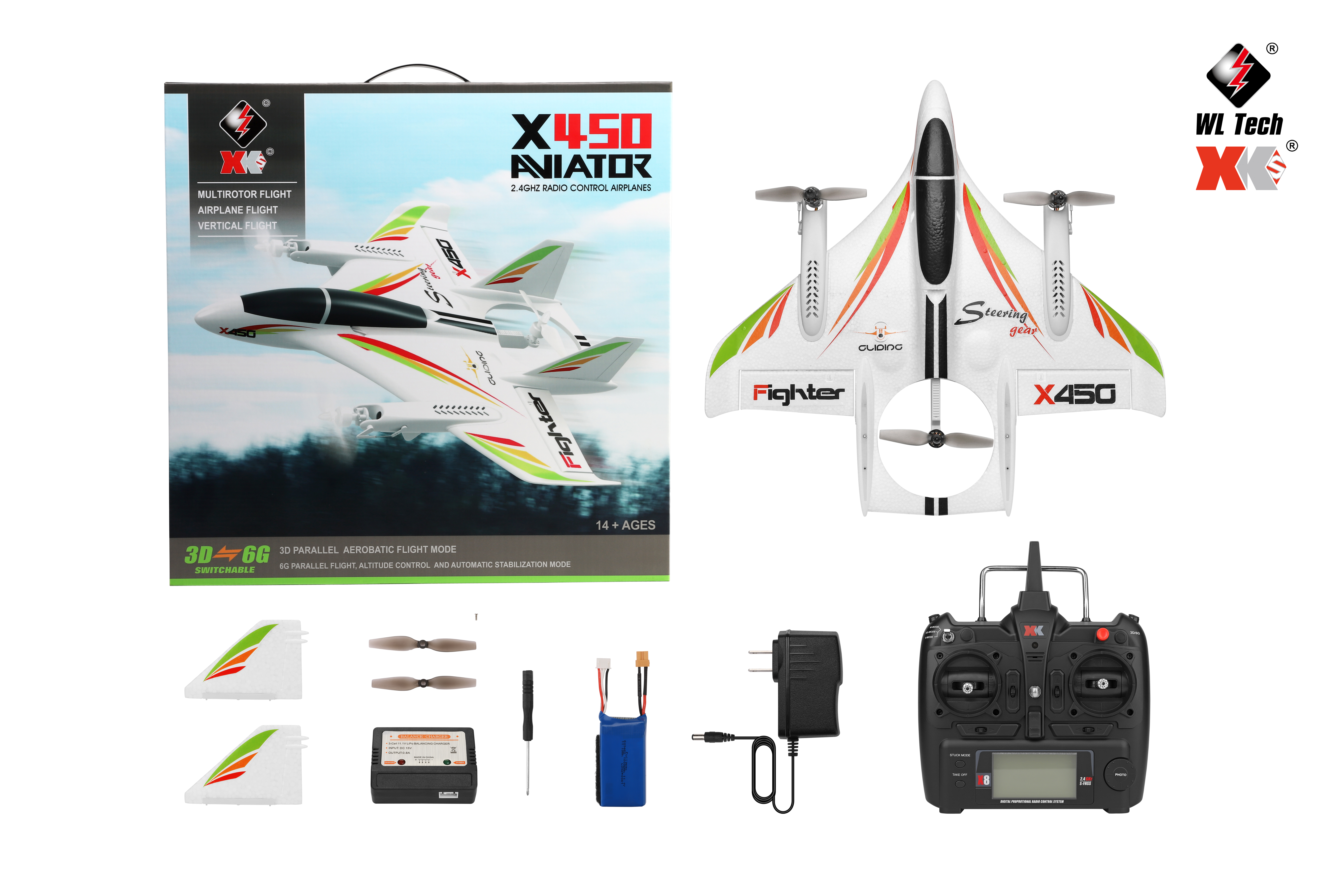 XK X450 2.4G Vertical Takeoff and Landing 3D EOP RC Airplane RTF as shown