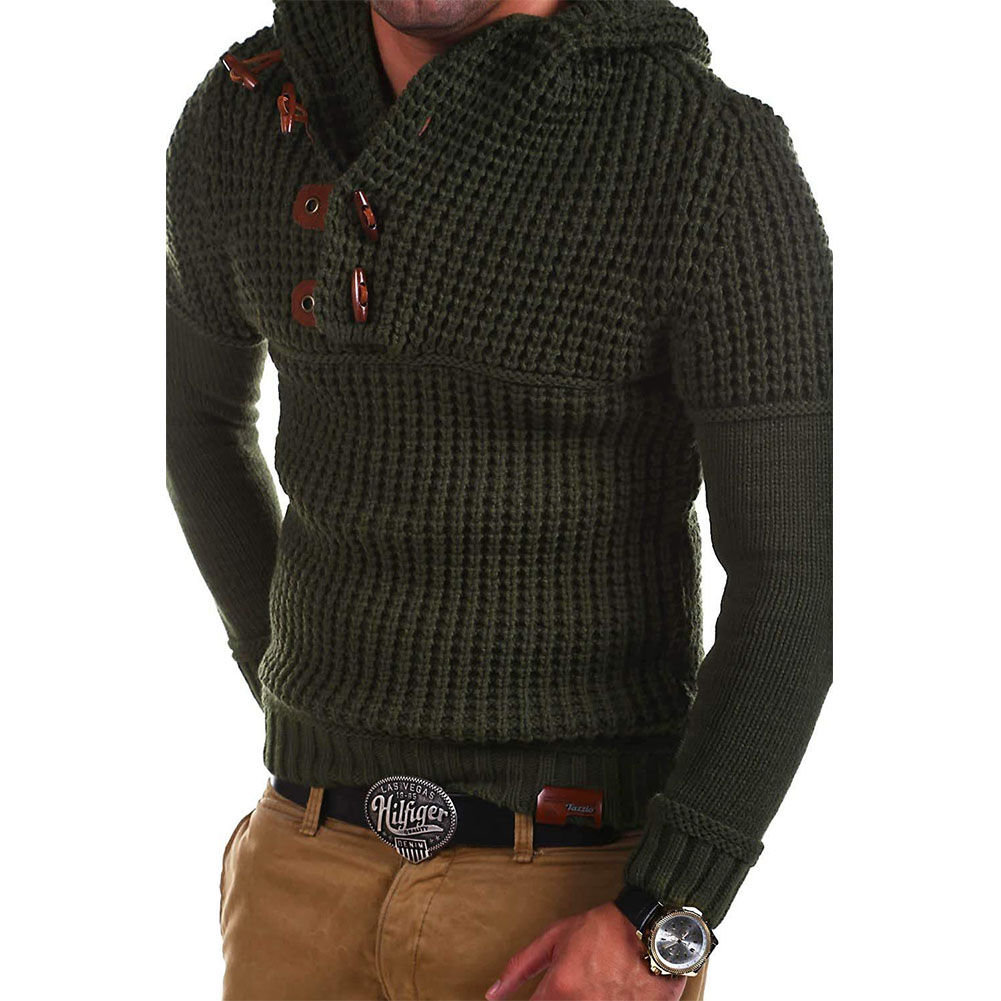 Men's Autumn Casual Long Sleeve Slim Solid Color V-neck Bottoming Shirt Sweater Horn Button Sweater Top Army Green_L