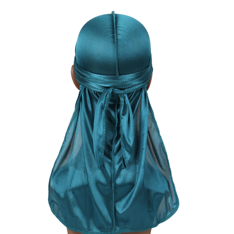 Solid Color Long Tail Plait Bonnet Head Wrap Cap Silky Durag peacock blue_One size