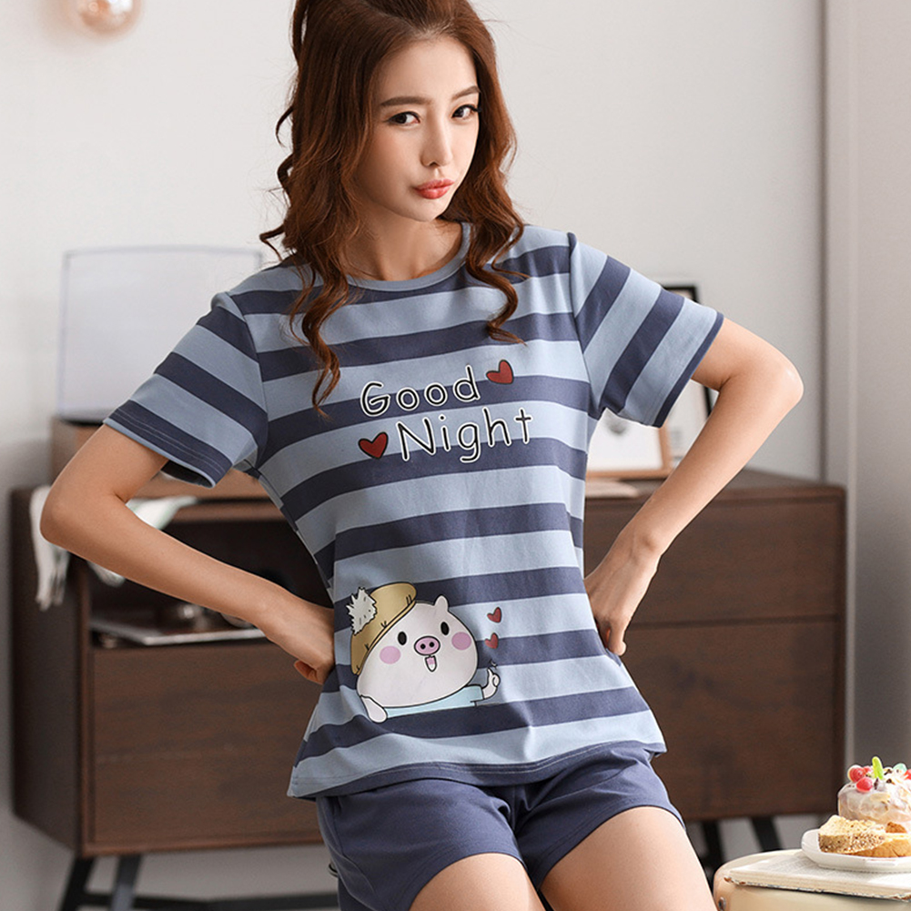 Couple Summer Short Sleeve Cute Cotton Thin Pajamas Two-piece Suit Home Wear Couple 7 Women_XL