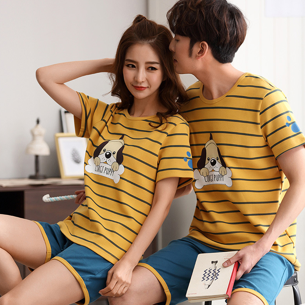 Summer Couples Sleepwear Set Strips Shirt+Shorts Plus Size Home Wear for Man and Woman Couple 9 Women_M
