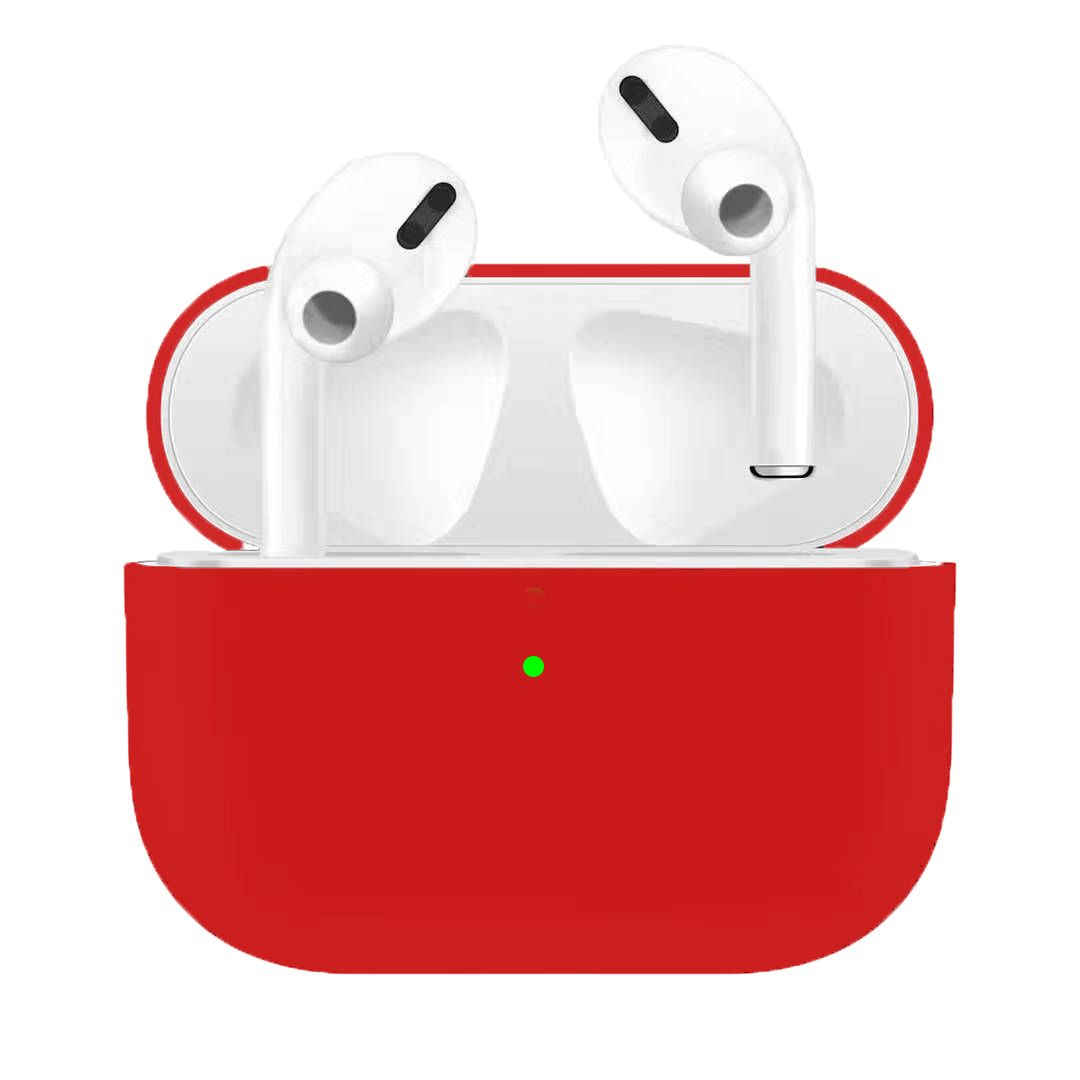 For Airpods Pro Silicone Earphone Case For Airpods Pro Shockproof Cases For Apple Bluetooth Headset Protective Cover red