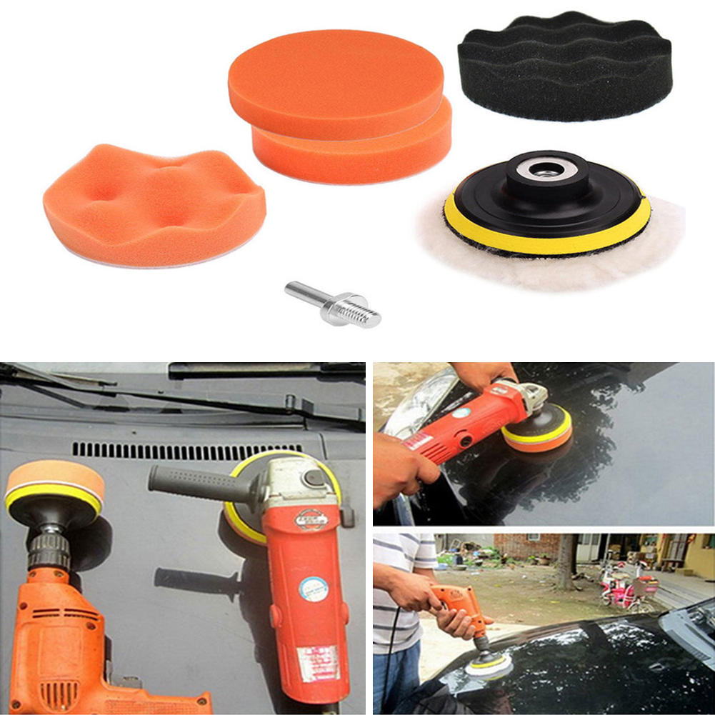 [Indonesia Direct] 3/4/5in Car Polisher Pads, Sponge Polishing Buffer Pad Set with M10 Drill Adapter and Sucker - 7pcs 5