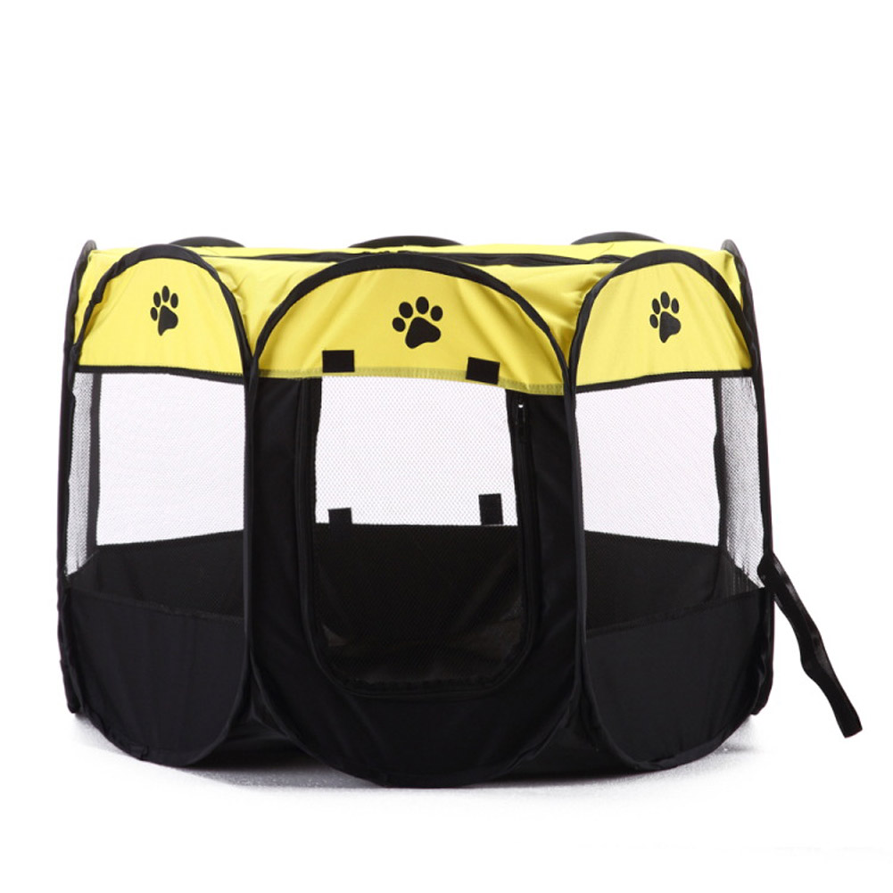 Collapsible Pet Octagonal Tent Pet Octagonal Fence Oxford Cloth Pet Octagonal Cage Cat Dog Cage Pet   Fluorescent yellow_S