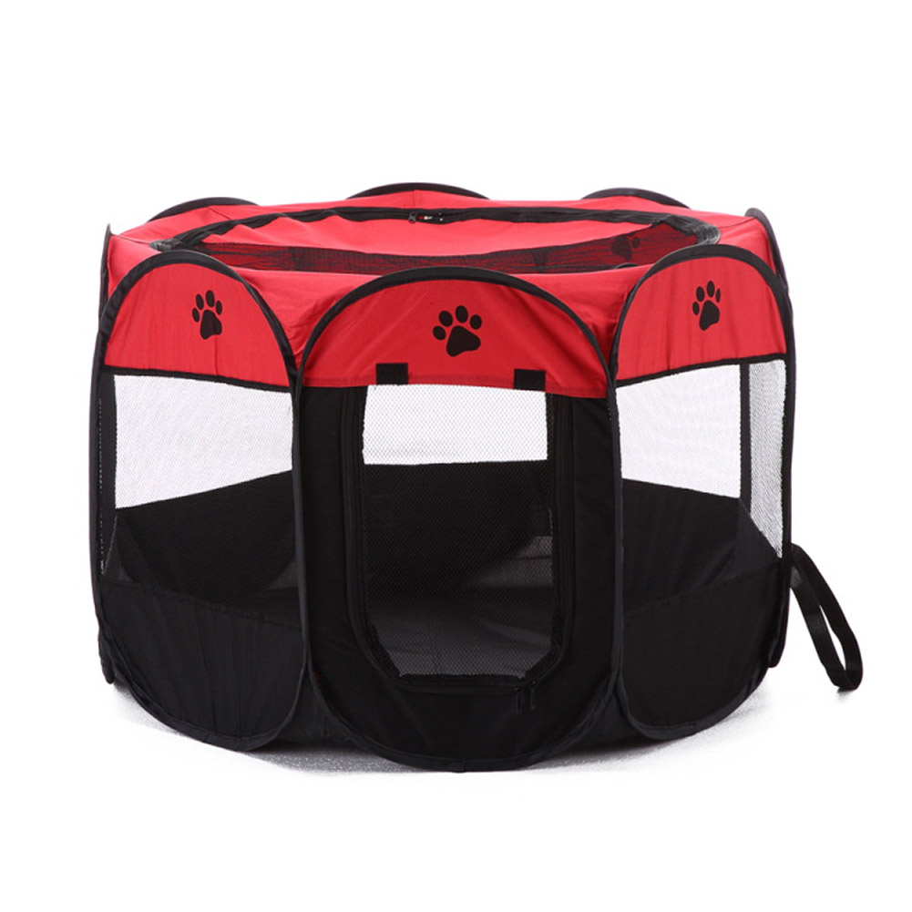 Collapsible Pet Octagonal Tent Pet Octagonal Fence Oxford Cloth Pet Octagonal Cage Cat Dog Cage Pet   red_S