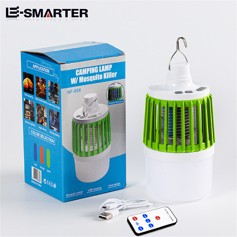 Led Electric Mosquito  Killer Light Outdoor Waterproof USB Rechargeable Mosquito Trap Green+Remote Control Version