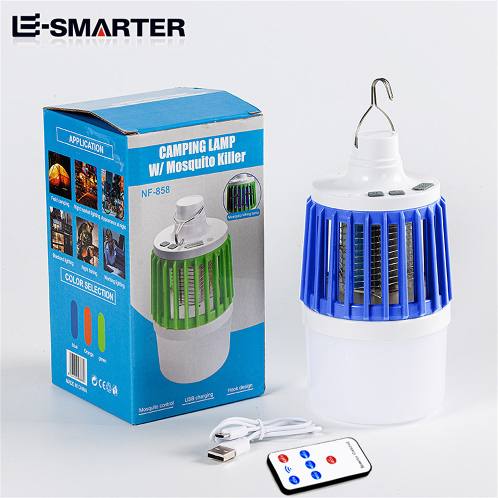Led Electric Mosquito  Killer Light Outdoor Waterproof USB Rechargeable Mosquito Trap Blue + remote control version