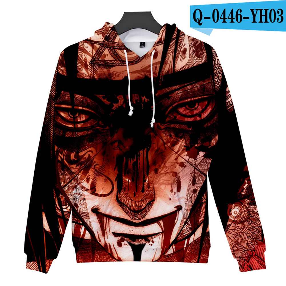 Men Women 3D Naruto Series Digital Printing Loose Hooded Sweatshirt Q-0446-YH03 E_XL