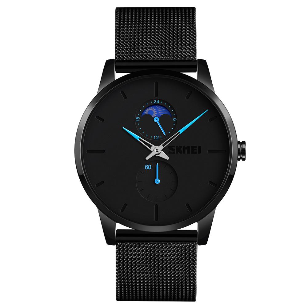 SKMEI Men Quartz Watch Second 24-Hour Display Waterproof Stainless Steel Simple Wristwatch Blue