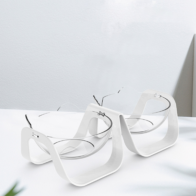 Feeding Bowl Neck Protect Bowl for Pet Dog Cat Water Food Feeder Double bowl white