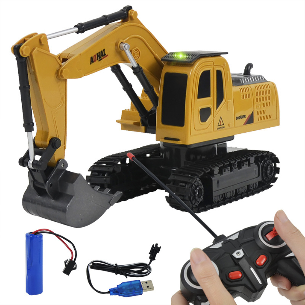 RC Alloy Construction Car Digger 6 CH Alloy Excavator Crane RC Construction Vehicle Toys Alloy Car Model English packaging_1:24